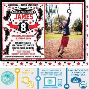 American Ninja Warrior Photo Picture invitation invite editable Zazzle store
