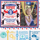Ninja Warrior Invitation Girl Blue and Red editable Photo Picture Invitation Invite Zazzle Store