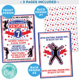 Ninja Warrior Girl Invitation Invite Blue and Red editable Zazzle Store