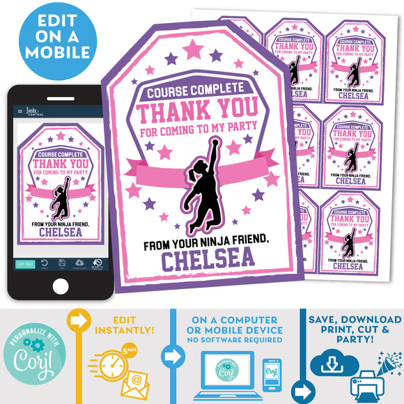 PRINTABLE Ninja Warrior Girls Favor Tags 2.5