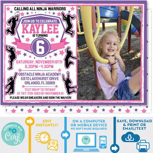 Ninja Warrior Invitation Girl Pink and Purple editable Photo Picture Invitation Invite Zazzle Store