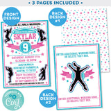 Ninja Warrior Girl Invitation Invite Pink and Teal editable Zazzle Store