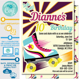 Retro Roller Skate Party Let's Roll Vintage Style Roller Skating Birthday Invitation