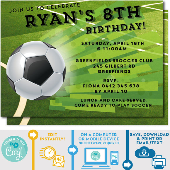 PRINTABLE Soccer Party Birthday Invitation 5