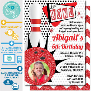 Retro Bowling Invitation Editable Photo Picture Ten Pin Up in Red and Black Zazzle