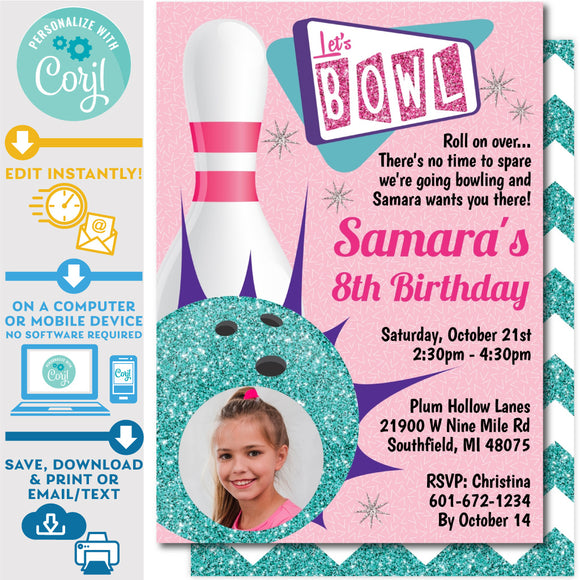 Retro Bowling Invitation Invite Editable Photo Picture Ten Pin Up in Pink and Teal Zazzl