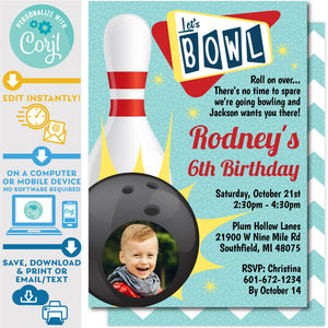 Retro Bowling Invitation Editable Photo Picture Ten Pin Up in Red and Teal Zazzle