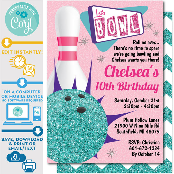 PRINTABLE Retro Tenpin Bowling Invitation in Pink and Teal Glitter 5