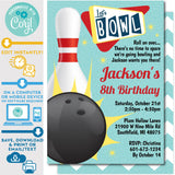 Retro Bowling Invitation Editable Ten Pin Up in Red and Teal Zazzle