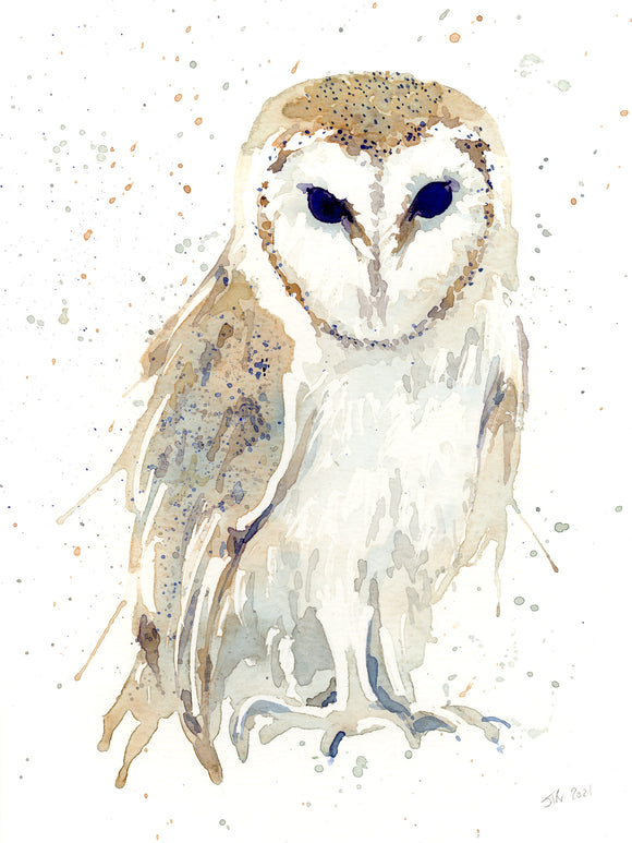 BARN OWL #2 watercolour painting