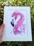 FLAMINGO watercolour painting