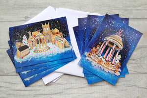 Pack of 8 Gingerbread scene A5 Christmas Cards with white Envelopes