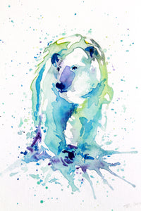 Polar Bear watercolour 10 x 8 Inch