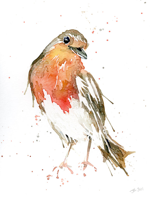 LITTLE Mr ROBIN #6 original Watercolour painting