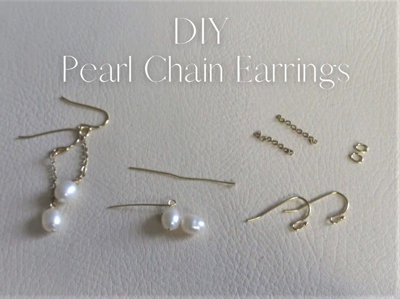 DIY Pearl Chain Earrings! Let's make original jewelry!