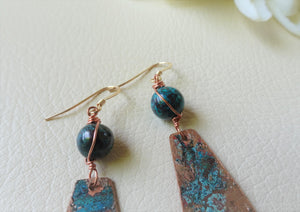 Verdigris Patina Earrings, Boho-chic One-of-a-kind Jewelry, Clip On.