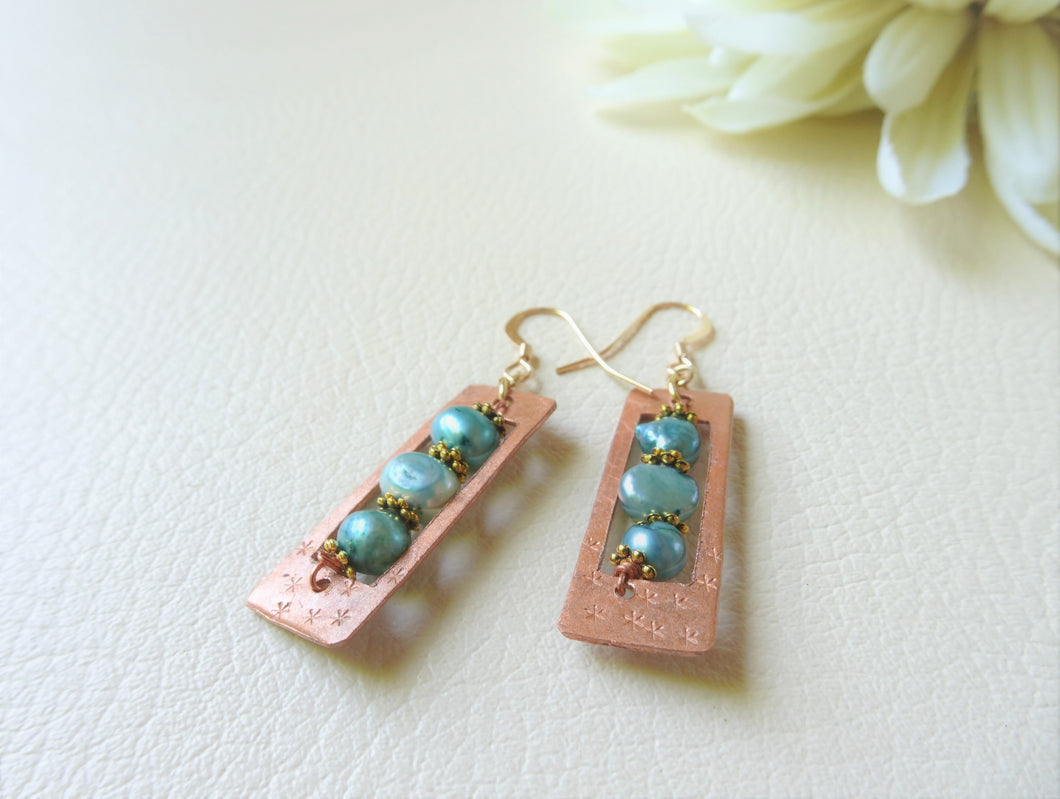 Aquamarine Pearls and Copper Abacus Earrings, Clip On
