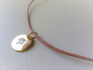 Tree Of Life Charm Necklace, Hand Stamped Disk Pendant.