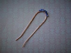 Copper Hair Fork with Lapis Lazuli, Copper Bun Holder.