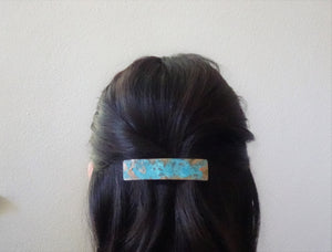 Turquoise Blue Patina Barrette, Rectangle Barrette