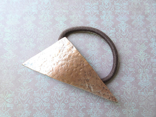 Geometric Pony Holder, Triangle Metal Hair Tie.