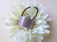 Load image into Gallery viewer, Gray Purple Pony Cuff, Copper Hair ties, Modern Pony Holder.
