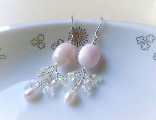 Blush Pink Botanical Beaded Branch Earrings, Twig Earrings.