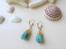 Load image into Gallery viewer, Turquoise Blue Drop Stone Exotic Gold Cone Earrings.
