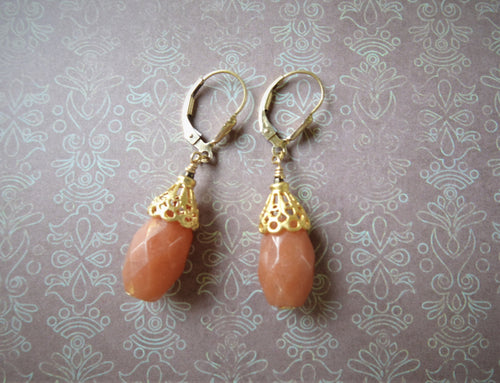 Orange Aventurine Filigree Cone Earrings.