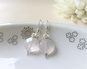 Transparent Gems Short Dangle Earrings.