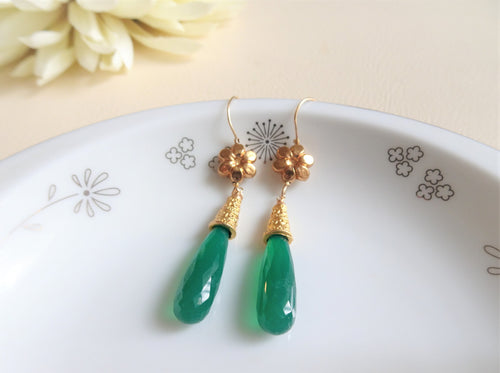 Exotic Emerald green Drop Earrings.