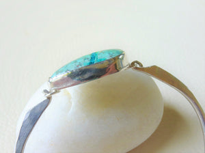 Ribbon Turquoise Bangle Bracelet, SV925