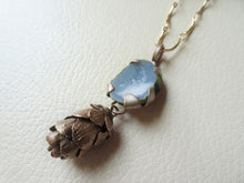 Load image into Gallery viewer, Woodland Pinecone Long Necklace With Druzy Crystal, Boho-Chic Jewelry.