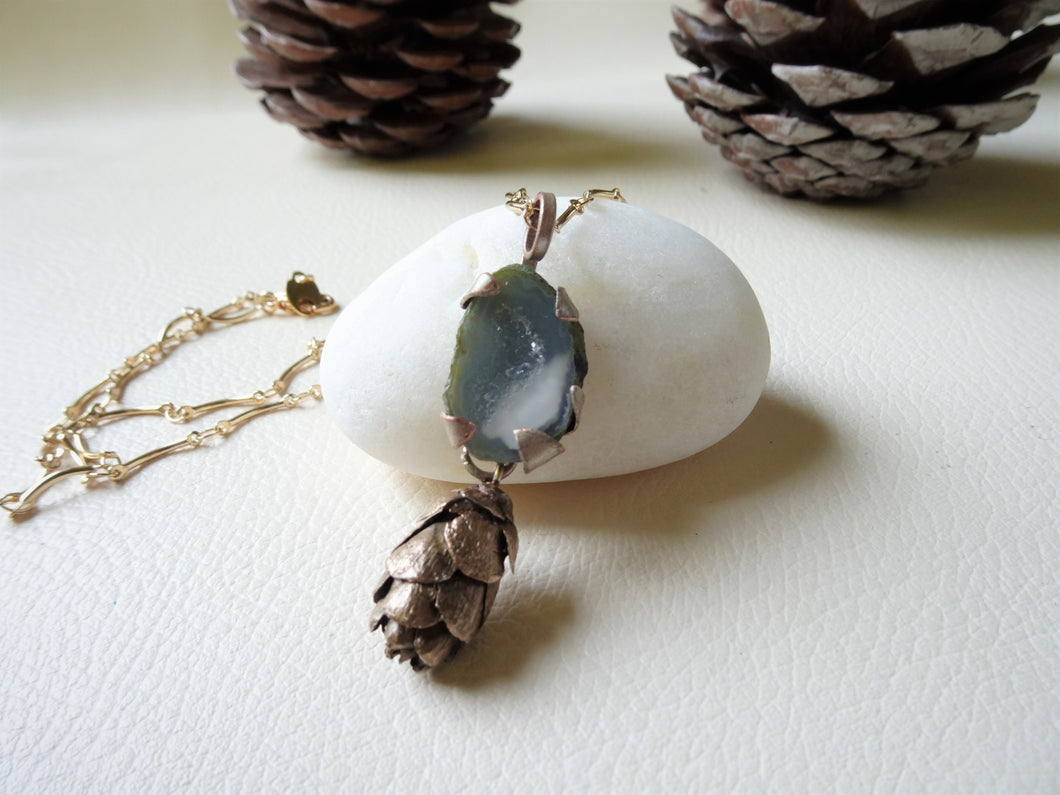 Woodland Pinecone Long Necklace With Druzy Crystal, Boho-Chic Jewelry.