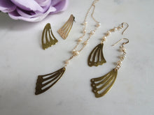 Load image into Gallery viewer, Gold Butterfly Wing Statement Earrings, Post Earrings.