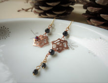 Load image into Gallery viewer, Spider Web Asymmetrical Onyx Earrings, Gothic Rose Gold Earrings.