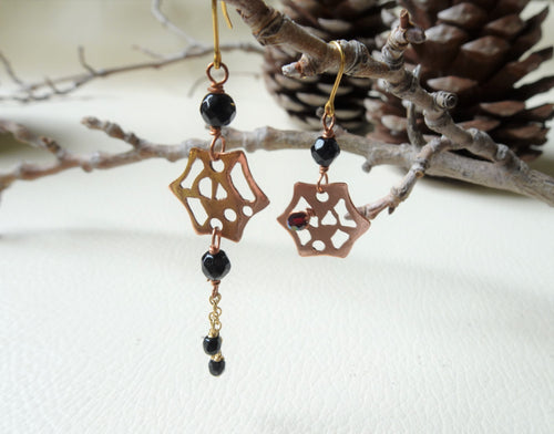 Spider Web Asymmetrical Onyx Earrings, Gothic Rose Gold Earrings.
