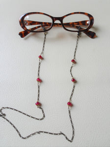 Antique Bronze Eye Glasses Chain, Red Stone Eyewear Jewelry