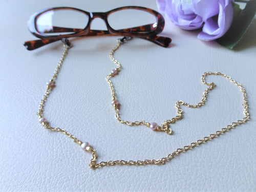 Pink Pearls Sunglasses Chain, Eyewear Jewelry