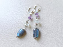Load image into Gallery viewer, Labradorite and Amethyst Long Earrings, Sterling Silver