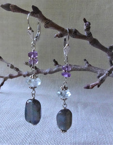 Labradorite and Amethyst Long Earrings, Sterling Silver