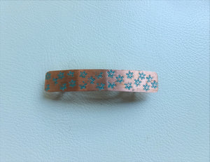 Narrow Flower Stamped Rectangle Barrette