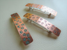 Load image into Gallery viewer, Narrow Flower Stamped Rectangle Barrette