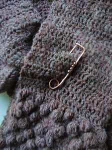 Copper Shawl Pin, Handforged Large Safety Pin