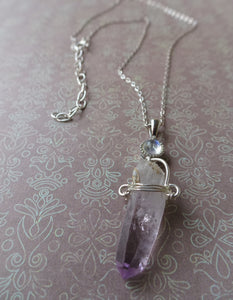 Raw Amethyst Point and Moonstone Necklace
