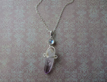 Load image into Gallery viewer, Raw Amethyst Point and Moonstone Necklace