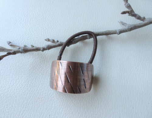 Copper Oval Pony Holder Cuff, Boho-chic Hair Jewelry