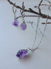 Load image into Gallery viewer, Raw Amethyst Wire Wrapped Earrings