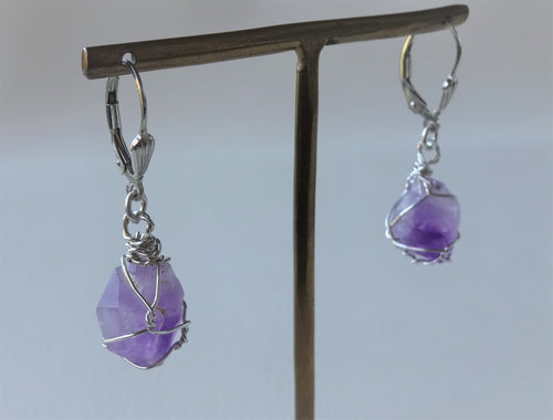 Raw Amethyst Wire Wrapped Earrings