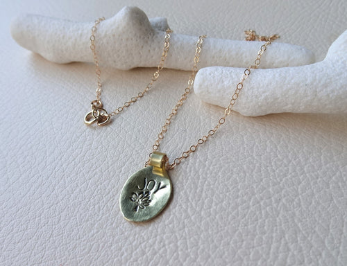 Hand Stamped Tree of Joy Pendant, Gold or Silver